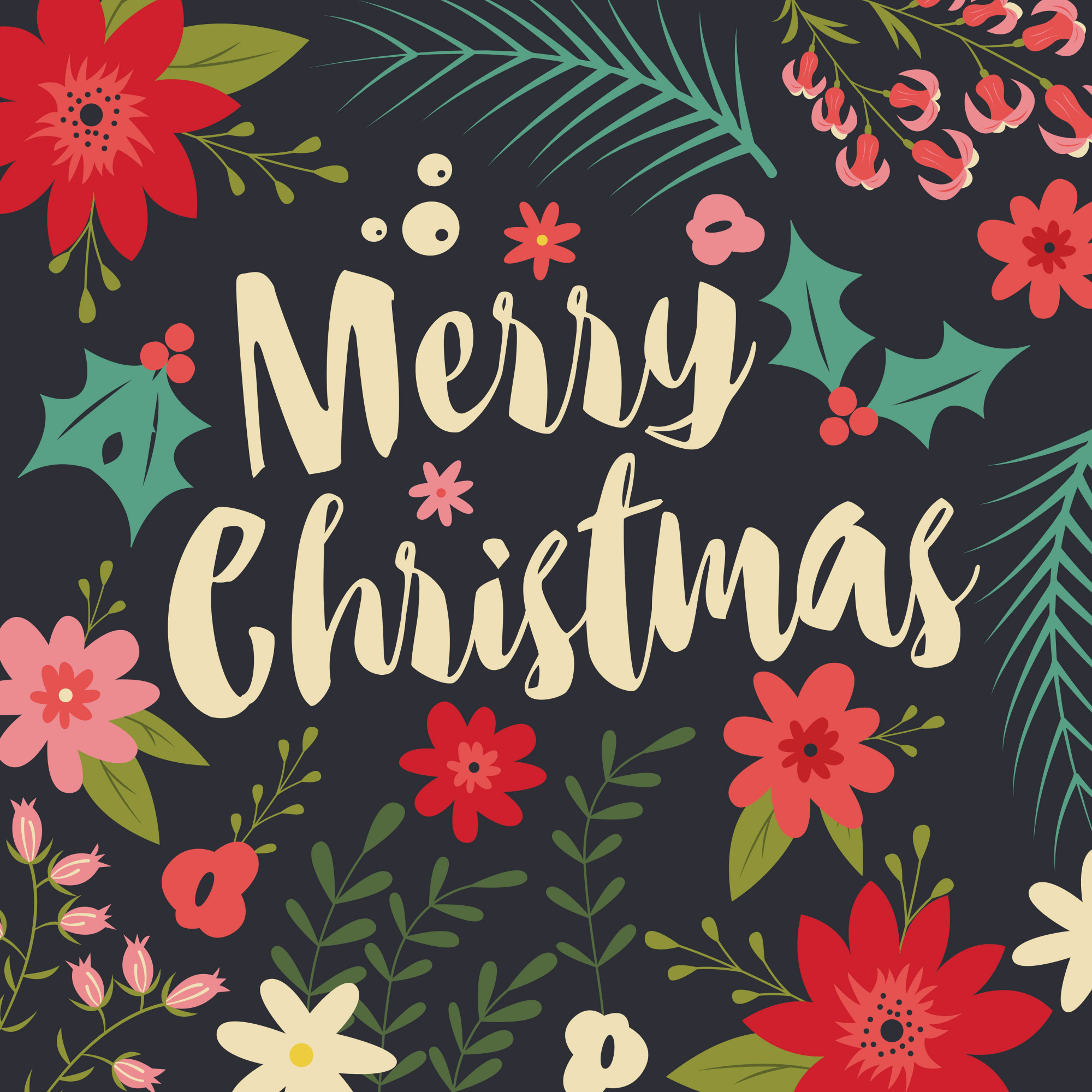 Typographic Merry Christmas card with decorative elements