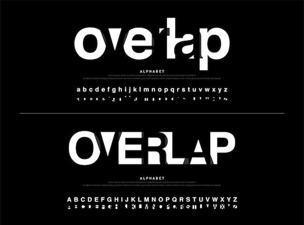 Typographic modern alphabet font overlap style