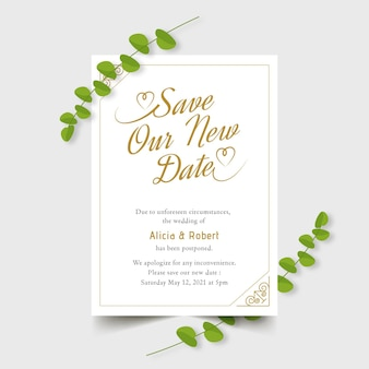 Typographic postponed wedding card design