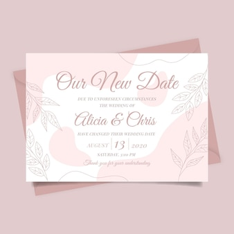 Typographic postponed wedding card template