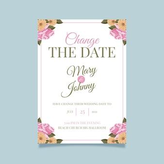 Typographic postponed wedding card