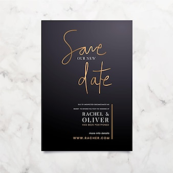 Typographic postponed wedding card