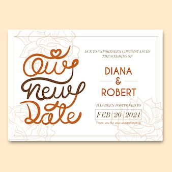 Typographic postponed wedding style
