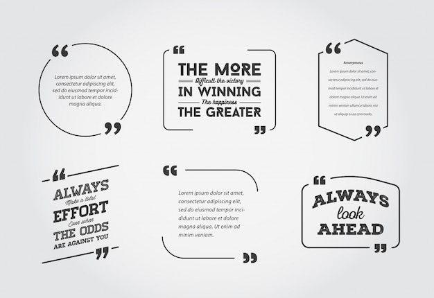 Typographic quote template bubble. template  set.
