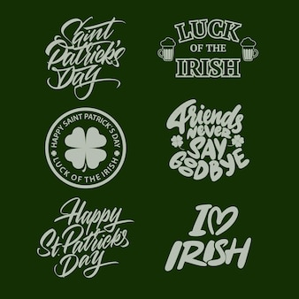 Typographic saint patrick's day retro badges and labels. vintage vector design elements for posters and greetings cards. vector illustration
