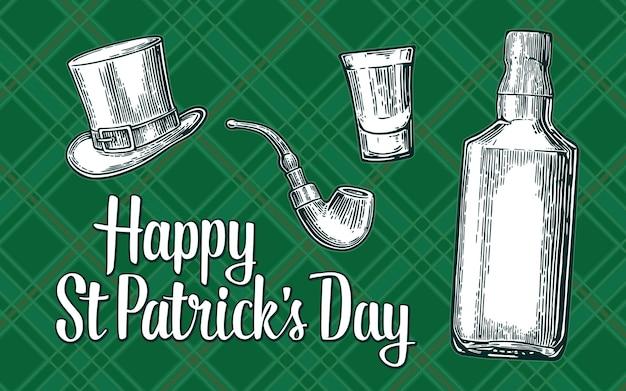 活版印刷の聖パトリックの日シルクハット喫煙パイプタータンチェックの華やかな背景にベクトルが刻まれています