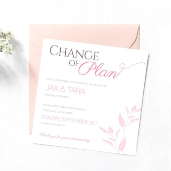Typographic template for postponed wedding card