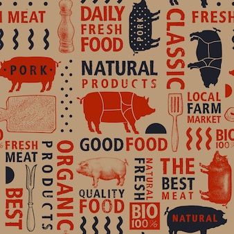 Typographic vector butchery seamless pattern.