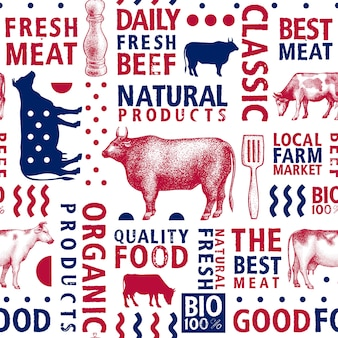 Typographic vector butchery seamless pattern