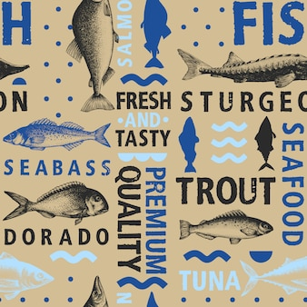 Typographic vector fish seamless pattern Premium Vector