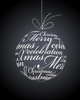 검정색 배경에 인쇄상의 크리스마스 공
