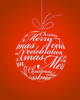 Typographic xmas ball on a red background.  illustration template