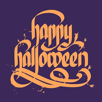 Concetto di design tipografico con iscrizione o lettering happy halloween manoscritta calligrafica