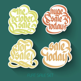 Typographical sale inscriptions set with calligraphic handwritten colorful stickers in flat style isolated