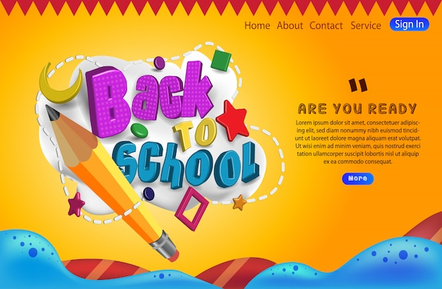 Typography of back to school with pencil landing page