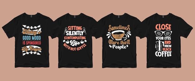 Типография каллиграфические надписи кофе цитаты комплект футболок
