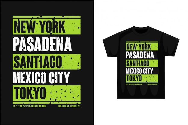 タイポグラフィの都市名-グラフィックtシャツ