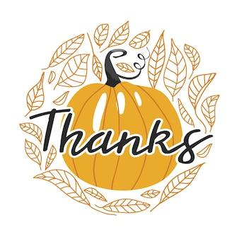 Типография композиция на день благодарения осенний контур листья тыквы и надписи
