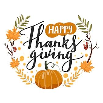 Типография композиция на день благодарения осенние листья ветки тыква рябина и надписи