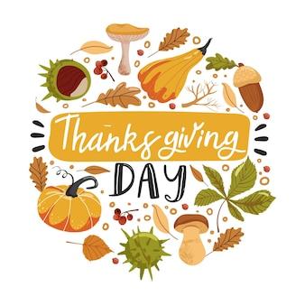 Типография композиция на день благодарения тыквы каштан гриб желудь и листья