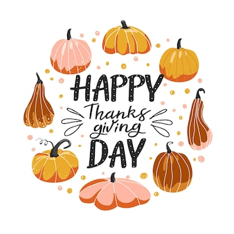 Typography composition for thanksgiving day various shape of pumpkins and lettering