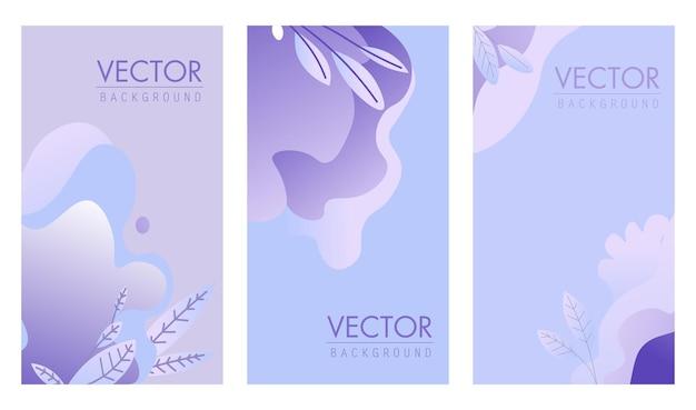 Обложка типографии с листвой и светлой цветовой темой. набор страниц с копией пространства и надписями. декоративные листья, баннер или плакат для письма. журнальный или книжный декор. вектор в плоском стиле