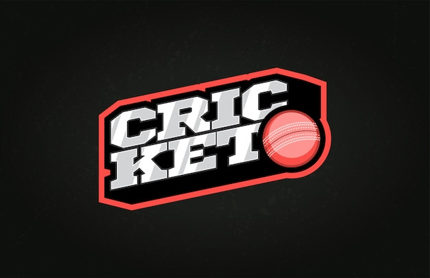 Typography cricket sport style emblem logo  with ball
