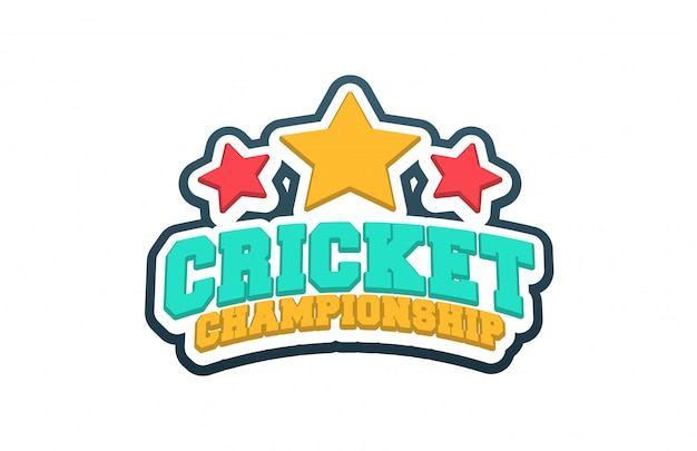 Typography cricket sport style emblem logo  with ball.