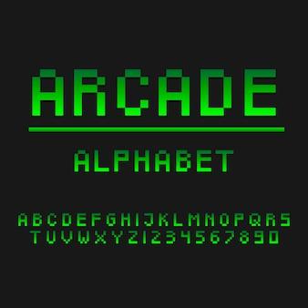 タイポグラフィゲーマーアーケードアルファベットスタイル。装飾的なタイプセットのモダンフォント。文字と数字のデザインセット。