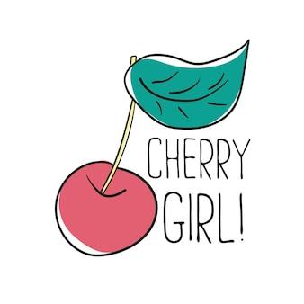 Типография графический лозунг cherry girl, вектор для современного принта футболки, нашивка для вышивки для футболки с принтом