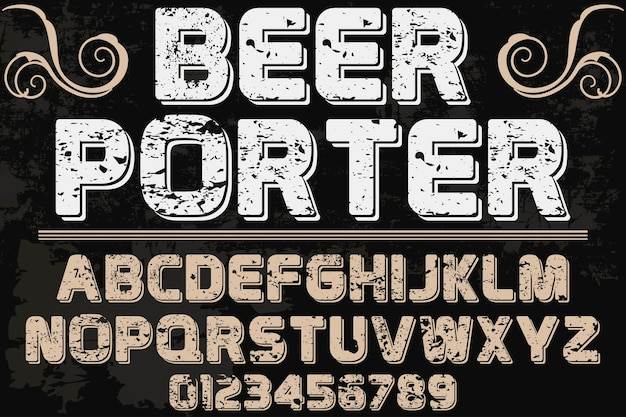 Typography graphic style beer porter