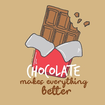 Typography hand lettering chocolate makes everything better quote