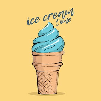 Typography hand lettering ice cream time quote
