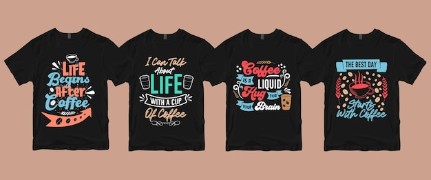 Типографская надпись от руки цитирует высказывания о кофейной футболке