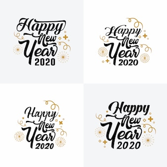 Typography happy new year 2020