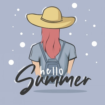 Typography illustration hand lettering hello summer quote