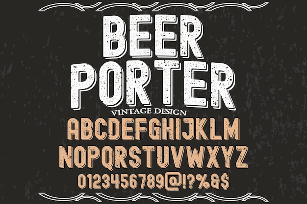 Typography label design beer porter
