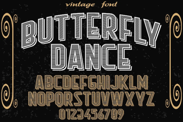 Typography label design butterfly