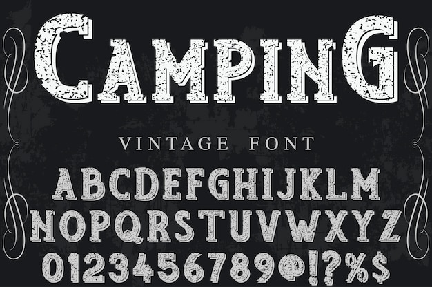 Typography label design camping