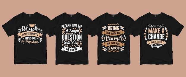 Типография надписи кофе цитаты футболка набор