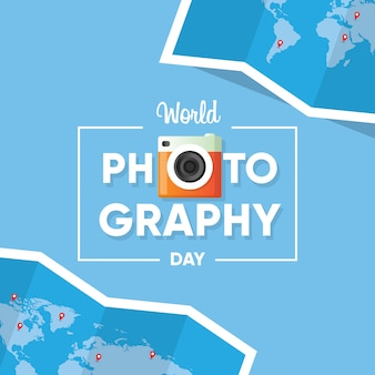 Typography of logo for world photography day banner with world map background