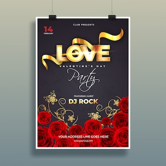 Typography of love with decorative rose flowers on black backgro