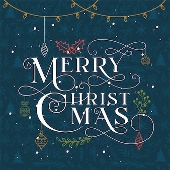 The typography merry christmas night sky on blue background.