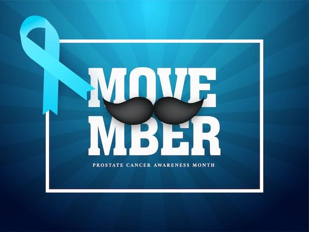 Typography of movember with mustache and aids ribbon on blue rays for prostate cancer awareness month