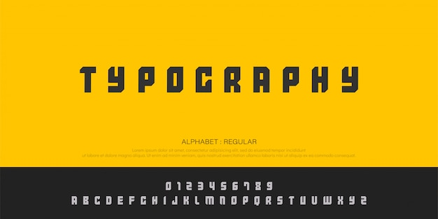 Typography and number font uppercase regular