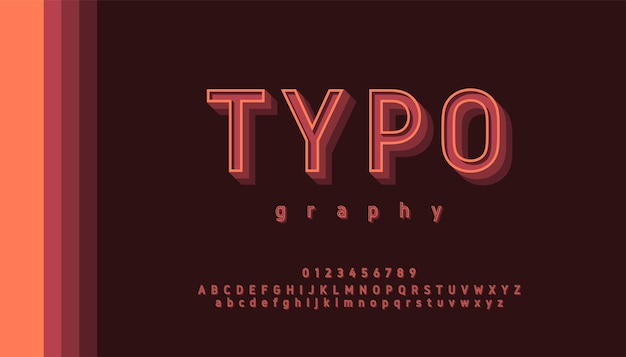 Typography retro pastel color letters and numbers