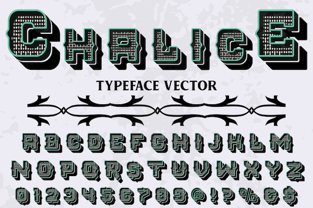 Typography shadow effect label design chalice