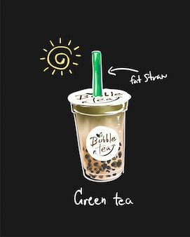 Typography slogan with bubble tea illustration
