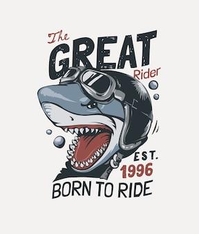 バイカーヘルメットイラストの漫画サメとタイポグラフィスローガン