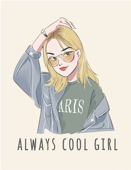 Typography slogan with cute girl illustration